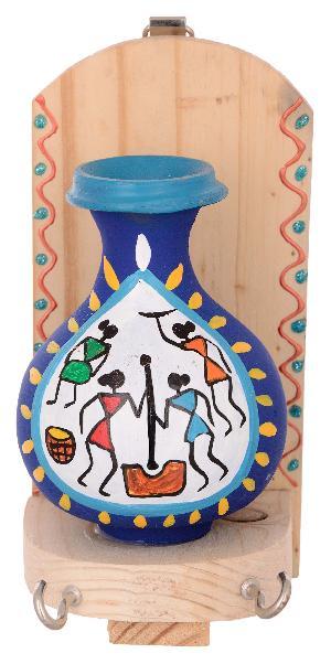 RURALSHADES Terracotta Traditional Warli Painted Blue Pot Key Holder
