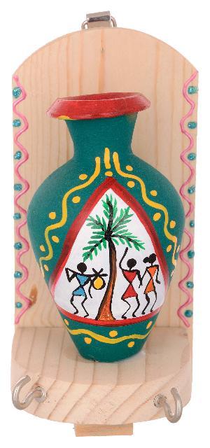 RURALSHADES Terracotta Traditional Warli Painted Green Pot Key Holder
