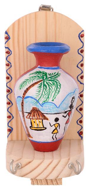 RURALSHADES Terracotta Traditional Warli Painted Red/White Pot Key Holder
