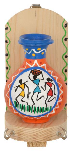 Ruralshades Terracotta Traditional Warli Painted Pot Key Holder
