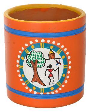 RURALSHADES Terracotta Warli Pen Stand Handicraft