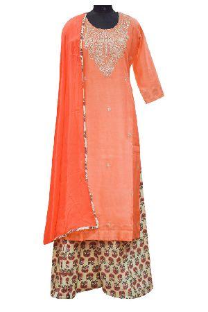 Peach Chanderi Cotton Suit Dupatta