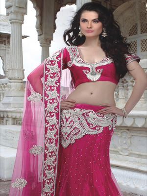 Embroidered Dark Pink Net Lehenga Choli
