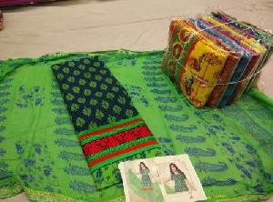 Green Jaipuri Printed Unstitched Suits