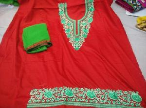 Red Thread Work Embroidered Unstitched Suits