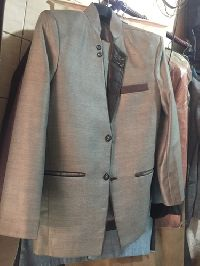 Mens Leather Collar Blazer