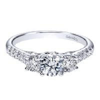 White Gold Diamond 3-stone Engagement Ring