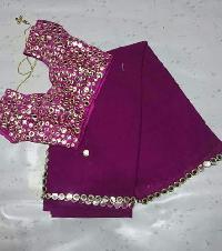 Purple Mirror Work Saree