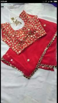 red Saree mirror work