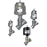 "Parker's 1/2"" Angle Seat Valve is actuated by a pneumatically driven p"