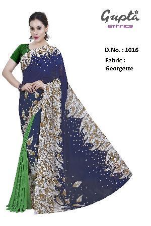 1016 Womens Blue Georgette Floral Print Saree
