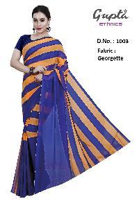 1003 Womens Blue Georgette Stripes Print Saree