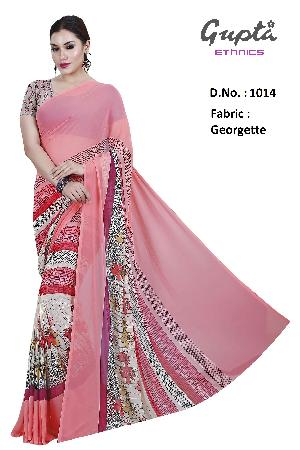 1014 Womens Coral Red Georgette Floral Print Saree