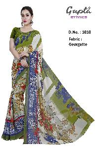 1010 Womens Green Georgette Floral Print Saree