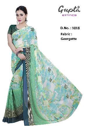 1018 Womens Green Georgette Printed Saree