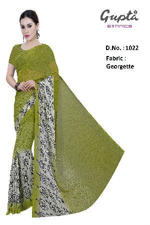 1022 Womens Green Georgette Printed Saree