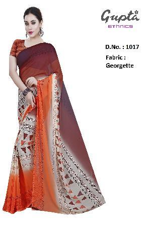 1017 Womens Orange Georgette Geometric Print Saree