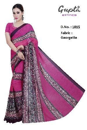 1015 Womens Pink Georgette Floral Print Saree