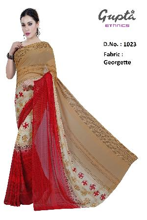 1023 Womens Red Georgette Printed Saree