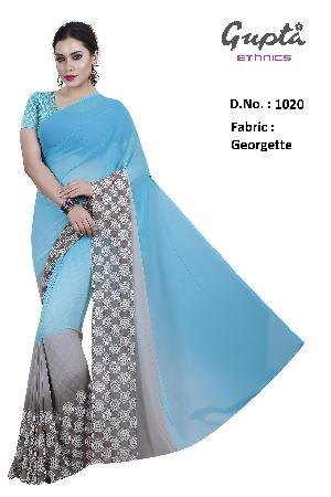 1020 Womens Turquoise Georgette Printed Saree