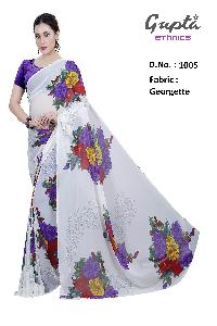 1005 Womens White Georgette Floral Print Saree