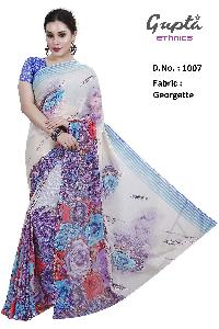 1007 Womens White Georgette Floral Print Saree