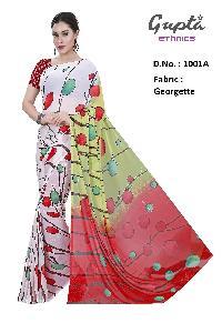 1001A Womens White Georgette Printed Saree