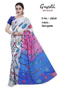 1001B Womens White Georgette Printed Saree