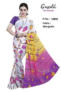 1001C Womens White Georgette Printed Saree