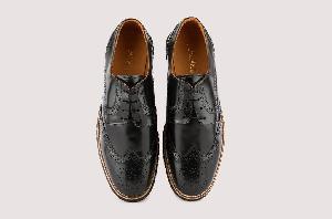 Black Burnished Longwing Brogue Hybrid Footwear