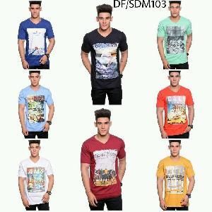 Mens T Shirt DF 103 Half Sleeves Printed V Neck