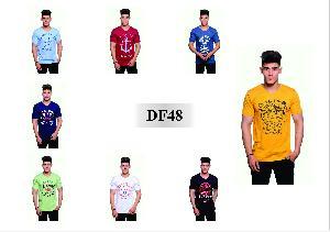 Mens T Shirt DF 48 Half Sleeves V Neck Printed