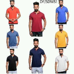 Mens T Shirt DF 51 Collared Half Sleeves Plain