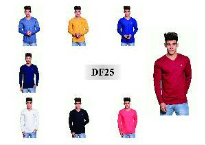 Men's T Shirt DF25 Full Sleeves Plain V Neck