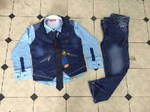Boys Fancy Full Shirt Denim Jacket Suits