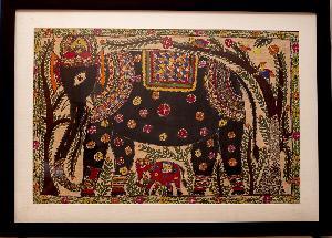 Handpainted Madhubani Elephant Painting