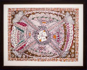 Handpainted Madhubani Four Fish Painting