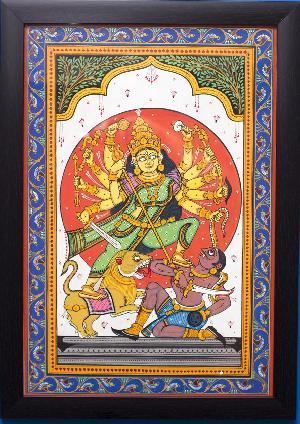 Handpainted Odisha Pattachitra Durga Painting