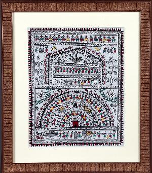 Handpainted Saura Village Scene Painting