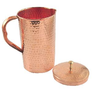 Indian Craftio Pure Copper Hammered Luxury Water Jug
