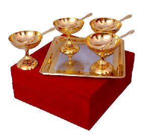 Brass Ice Cream Bowl Set