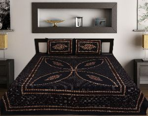 Kraft Sutra Barmeri block print cotton Blue king size bed cover