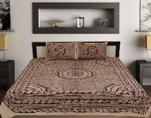 Kraft Sutra Cotton Barmeri Block Print Bed Cover