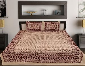 Kraft Sutra Barmeri block print cotton cream king size bed cover