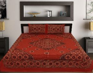 Kraft Sutra Barmeri block print cotton orange king size bed cover