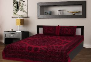 Kraft Sutra Barmeri block print cotton Purple king size bed cover
