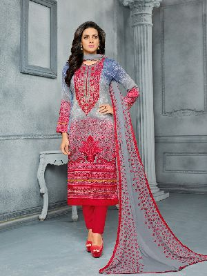 Designer Cotton Satin Semi Stitched Multicolor Printed Embroidered Salwar Suit