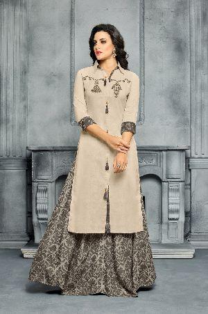 Designer Semi Stitched Chanderi Cotton Embroidered Sharara Salwar Suit