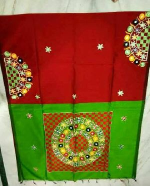 Plain Blouse Aari Work Silk Cotton Saree