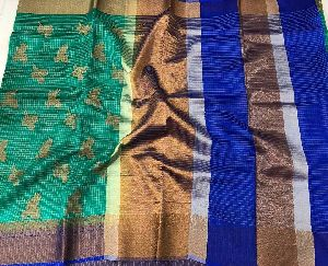 Antique Zari Weavings Banarasi Kora Sarees